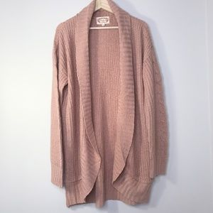 Ambiance Peach Open Chunky Knit Duster Cardigan